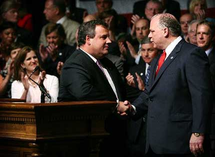 Chris Christie and Stephen Sweeney
